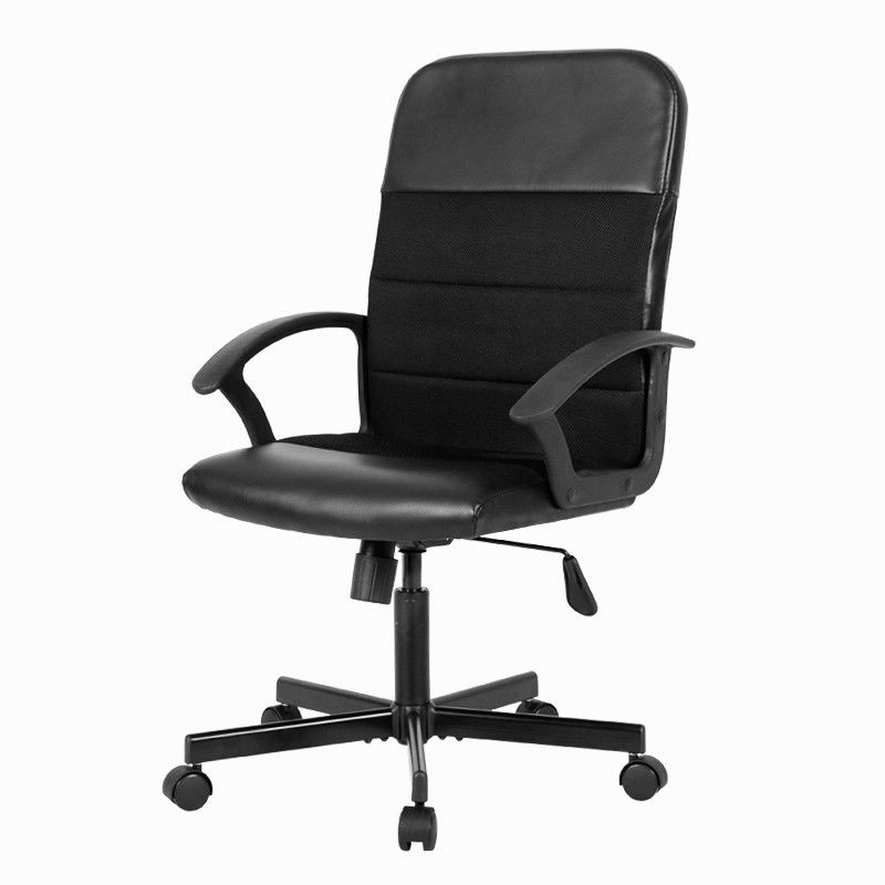Black Leather Office Chair With Armrest Zipper , Wearable Swivel Computer Chair