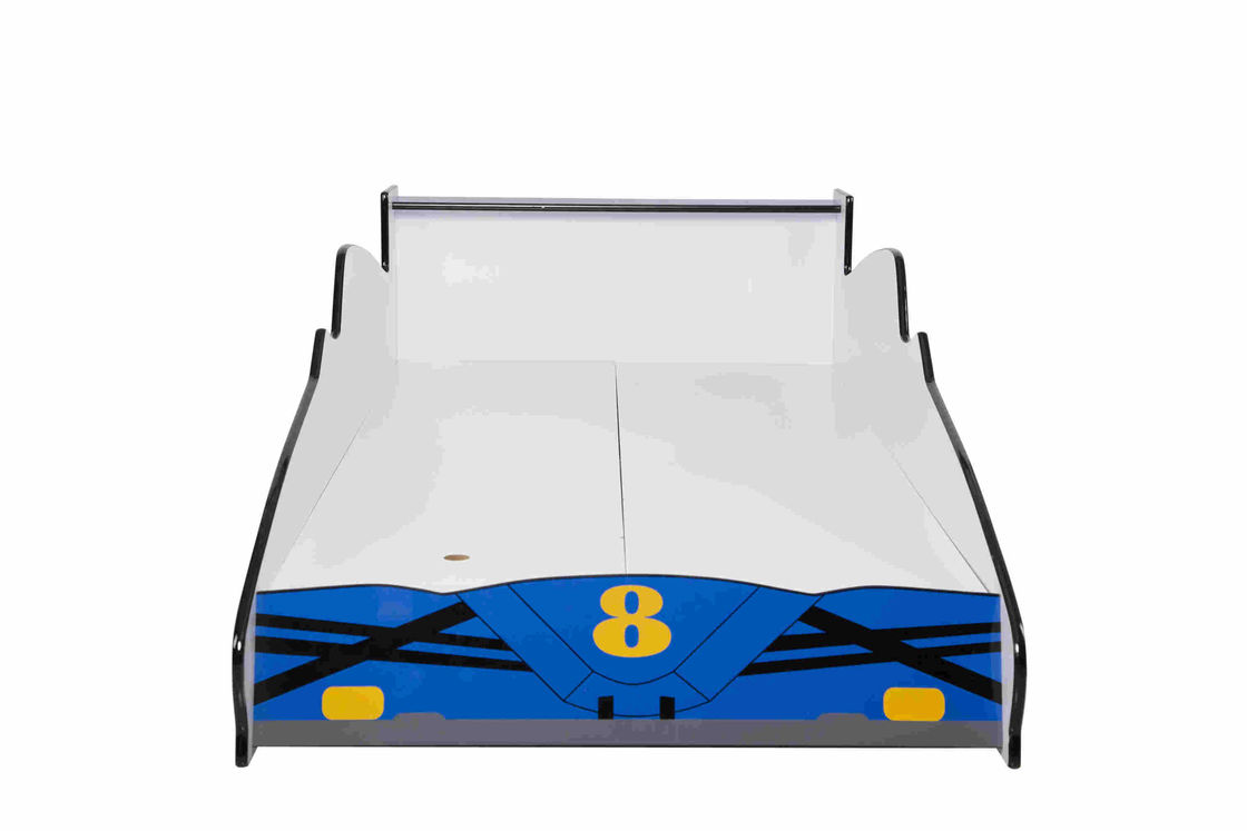 Blue Durable Wooden Race Car Toddler Bed With Colorful Character Graphics