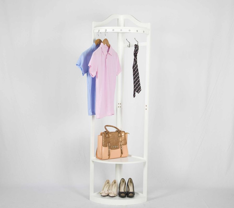 Corner Solid Wood Coat Hanger Rack With 2 Storage Shelves
