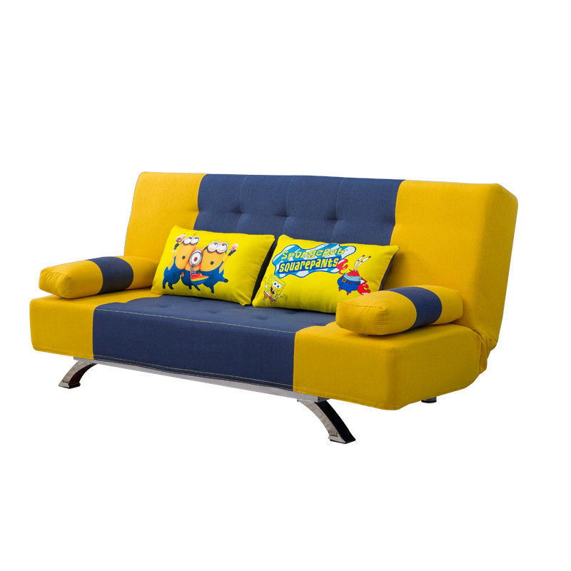 Gross Weight 28KGS Convertible Navy Yellow Home Sofa Bed